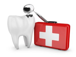 cracked white tooth red emergency kit